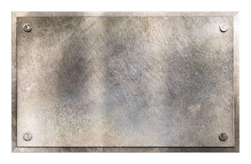 Fondo di piastra metallica rustico del segno immagini stock