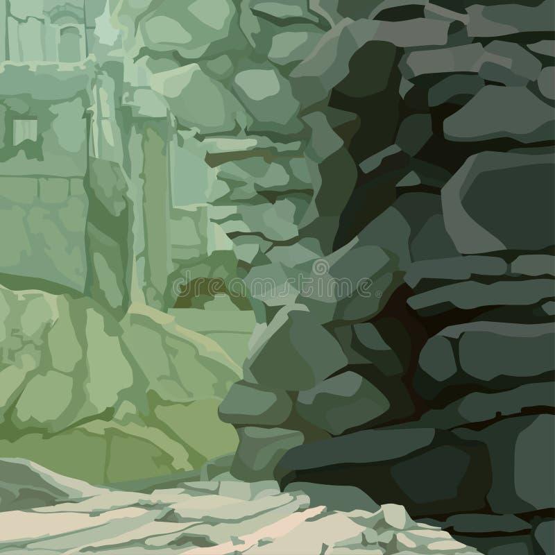 Fondo di pietra di rovine con la parete di sporgenza di pietra royalty illustrazione gratis