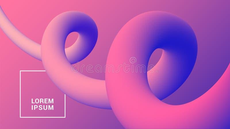 Fondo di plastica organico con le forme fluide 3D Modello astratto d'avanguardia di pendenza illustrazione di stock