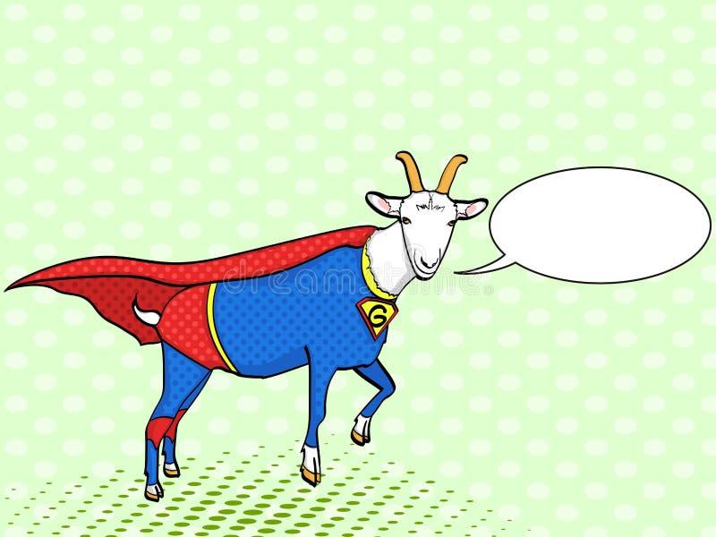 Fondo di Pop art Animale della capra delle mosche vestito come supereroe con il carattere di membro del comitato di vigilanza dei royalty illustrazione gratis