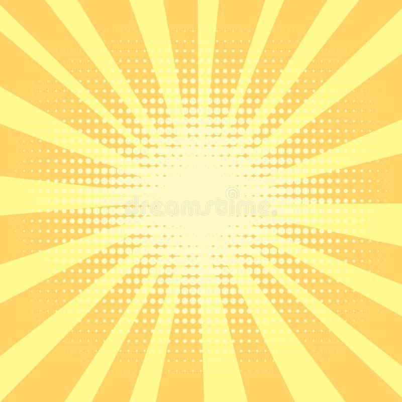 Fondo di Pop art, arancio i raggi del sole sono gialli e cerchi Retro stile, emulazione comica Acquisizione per la a royalty illustrazione gratis
