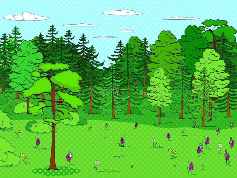 Fondo di Pop art, foresta, radura, lotti degli alberi, insieme Molto verde, natura Vettore illustrazione di stock