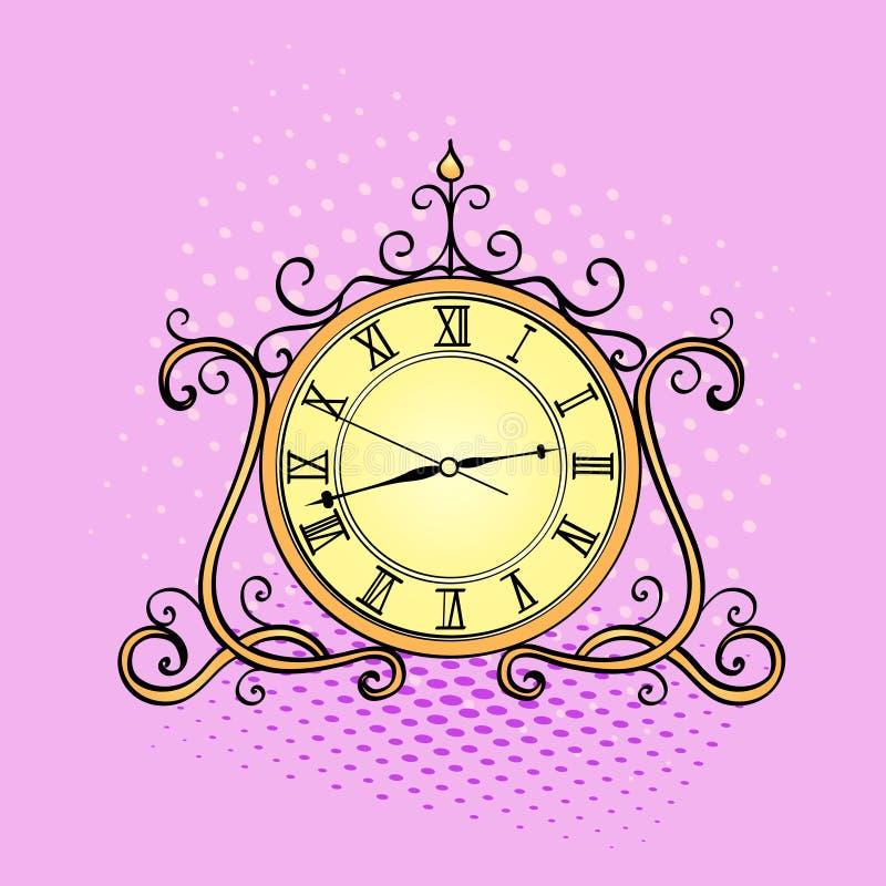 Fondo di Pop art, orologio da tavolino Il retro oggetto, oggetti d'antiquariato, vector lo stile comico d'imitazione illustrazione vettoriale