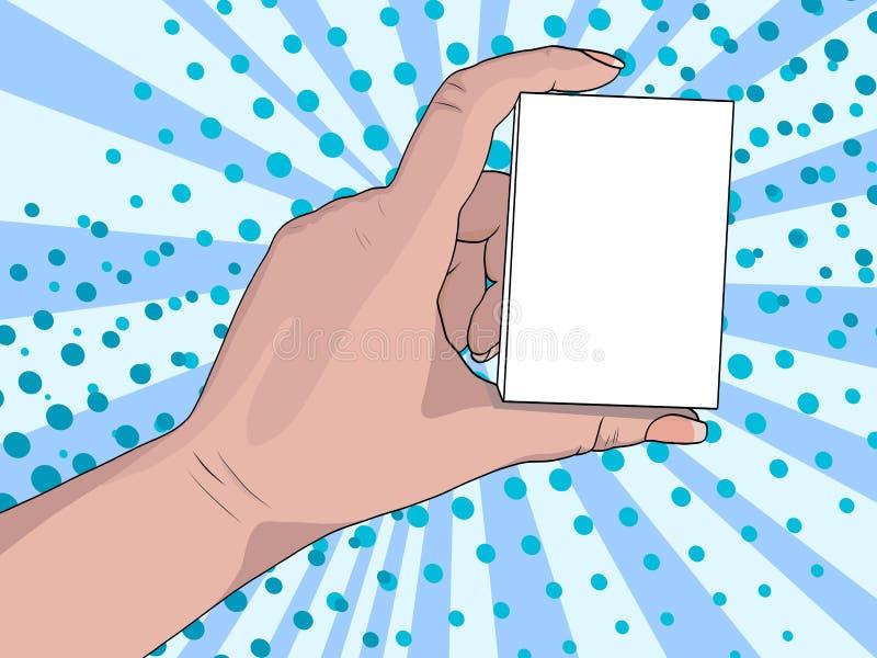 Fondo di Pop art, sole blu, raggi Una mano della donna con un manicure tiene un segno, una scatola o un biglietto da visita con l illustrazione vettoriale