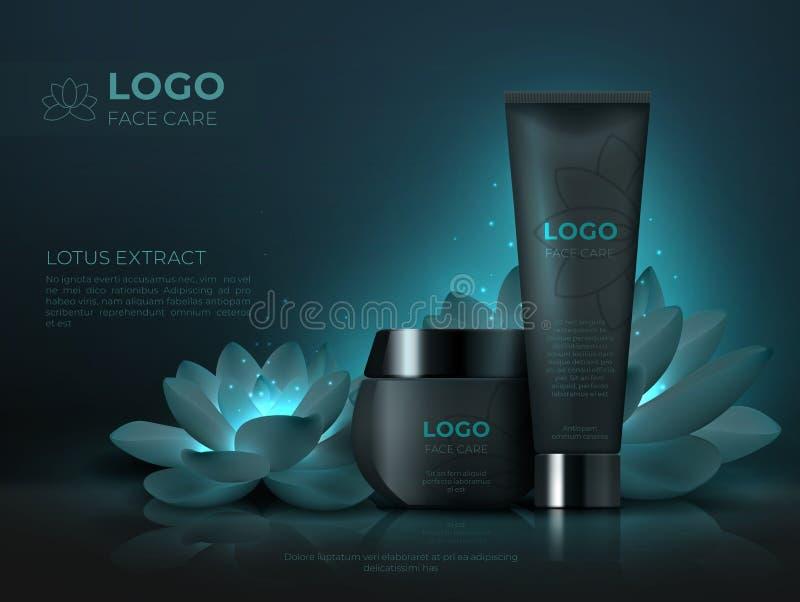 Fondo di prodotto cosmetico nero Tubo realistico di trucco 3D di bellezza della crema di lusso dello skincare Modello cosmetico d illustrazione di stock