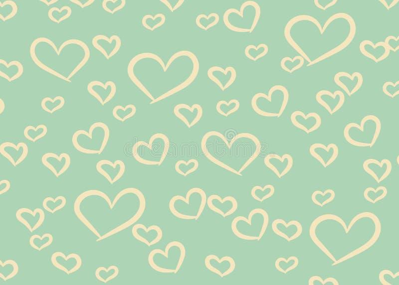 Fondo di progettazione dei cuori Cartolina d'auguri Valentine Day Illustrazione di vettore Reticolo del cuore Coriandoli di cadut illustrazione vettoriale
