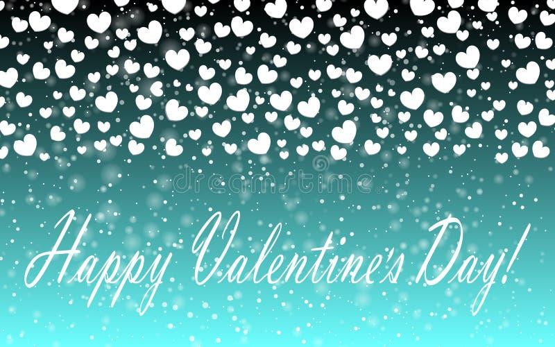 Fondo di progettazione dei cuori Cartolina d'auguri Valentine Day Illustrazione di vettore Reticolo del cuore Coriandoli di cadut illustrazione di stock