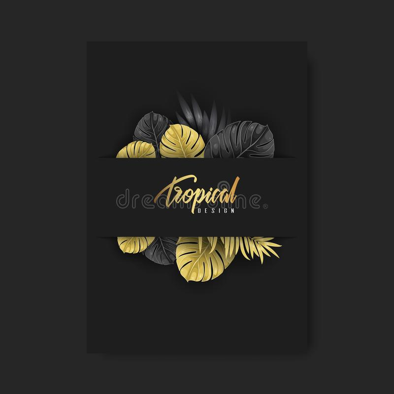 Fondo di progettazione dell'aletta di filatoio modello dell'opuscolo Elemento tropicale di progettazione fotografie stock libere da diritti