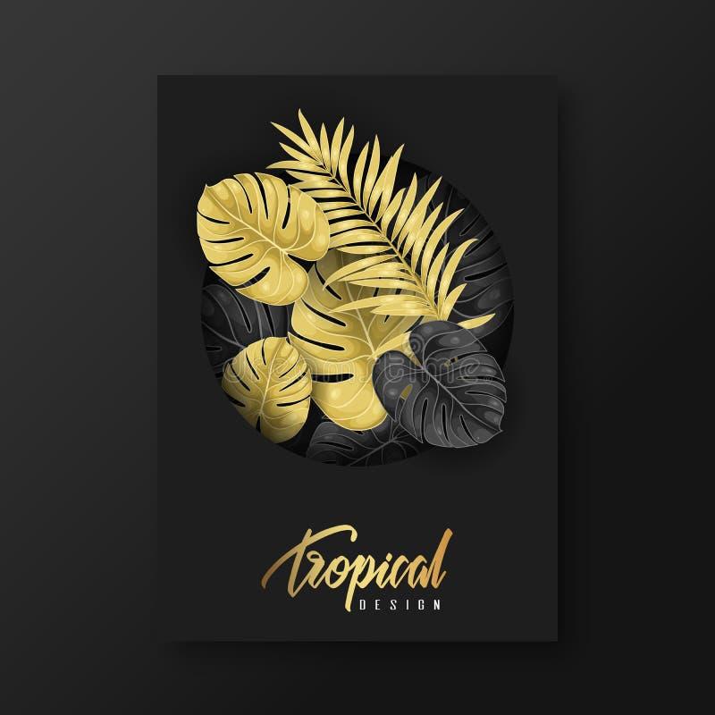 Fondo di progettazione dell'aletta di filatoio modello dell'opuscolo Elemento tropicale di progettazione fotografia stock