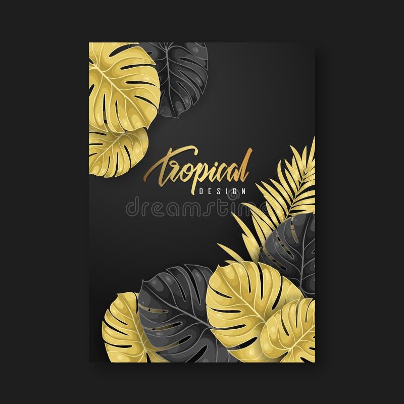 Fondo di progettazione dell'aletta di filatoio modello dell'opuscolo Elemento tropicale di progettazione fotografia stock libera da diritti