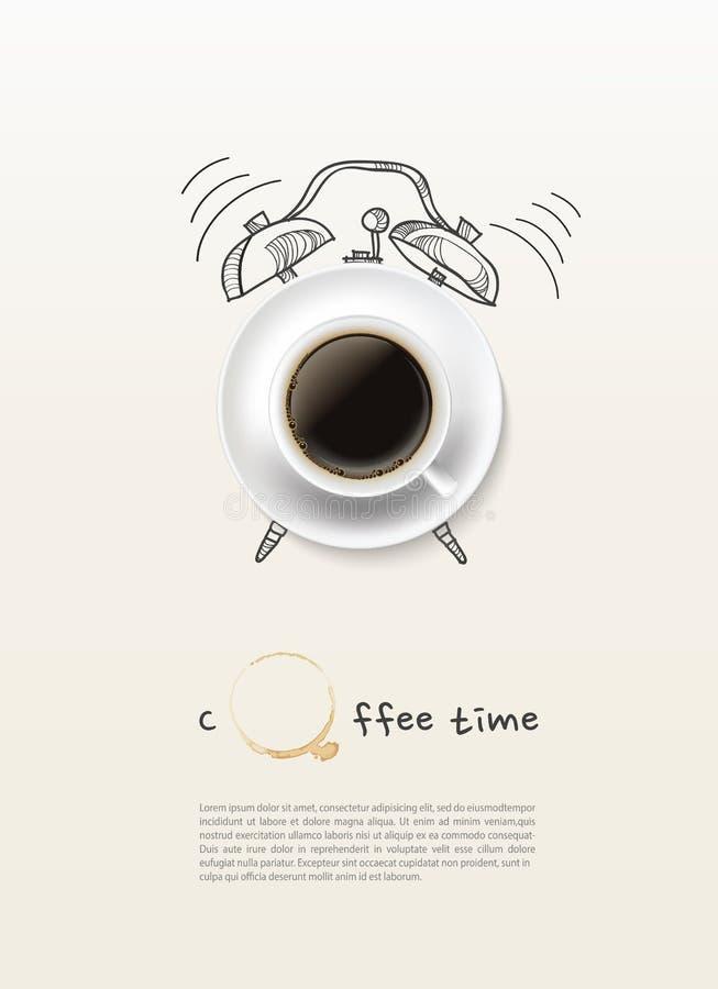 Fondo di progettazione di massima dell'orologio marcatempo della tazza di caffè illustrazione vettoriale