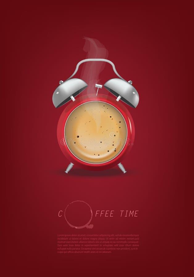 Fondo di progettazione di massima dell'orologio marcatempo della tazza di caffè royalty illustrazione gratis