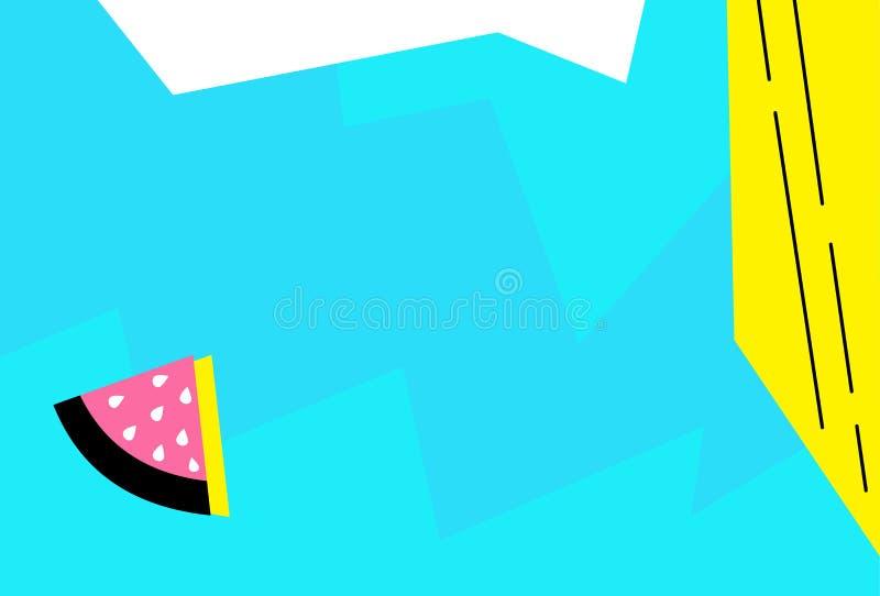Fondo di progettazione di Memphis geometrico La linea ed i punti astratti di Pop art colorano il fondo del modello Ove liquido de royalty illustrazione gratis