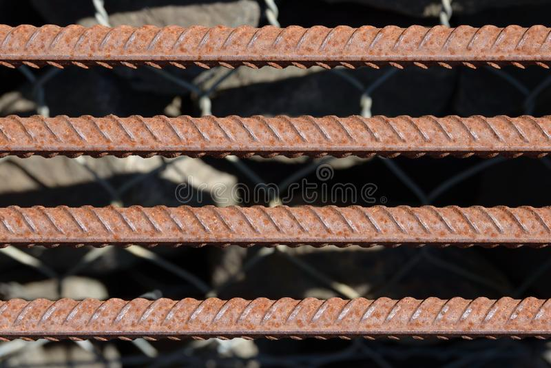 Fondo di rinforzo Antivari d'acciaio, tondo per cemento armato per i lavori di costruzione concreti Armatura del metallo Barre d' immagine stock libera da diritti