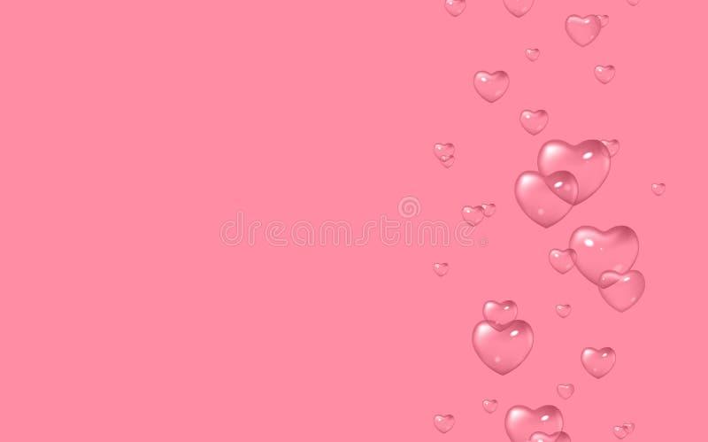 Fondo di rosa di vettore con le bolle nella forma dei cuori, San Valentino, il giorno delle donne royalty illustrazione gratis