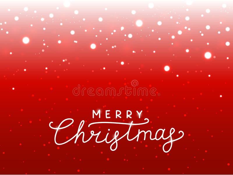 Fondo di rosso delle luci di Natale illustrazione di stock