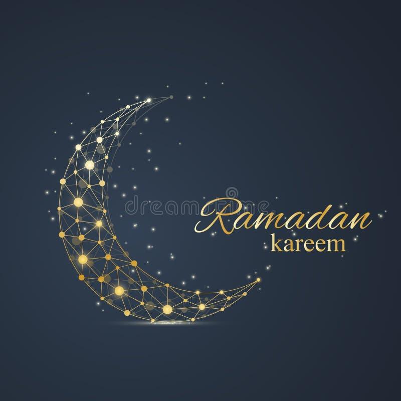 Fondo di saluti del Ramadan Progettazione di lusso delle soluzioni dell'oro Illustrazione di vettore illustrazione di stock