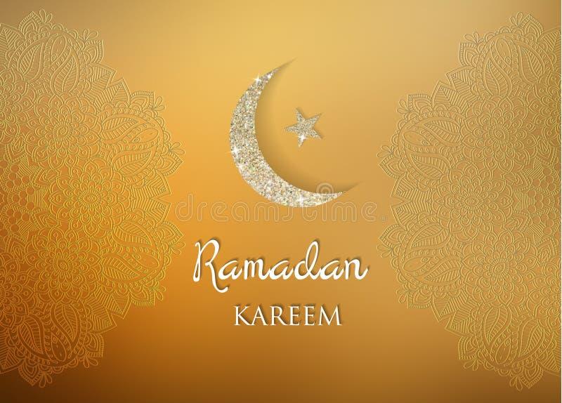 Fondo di saluti del Ramadan Ramadan Kareem significa il Ramadan il mese generoso royalty illustrazione gratis