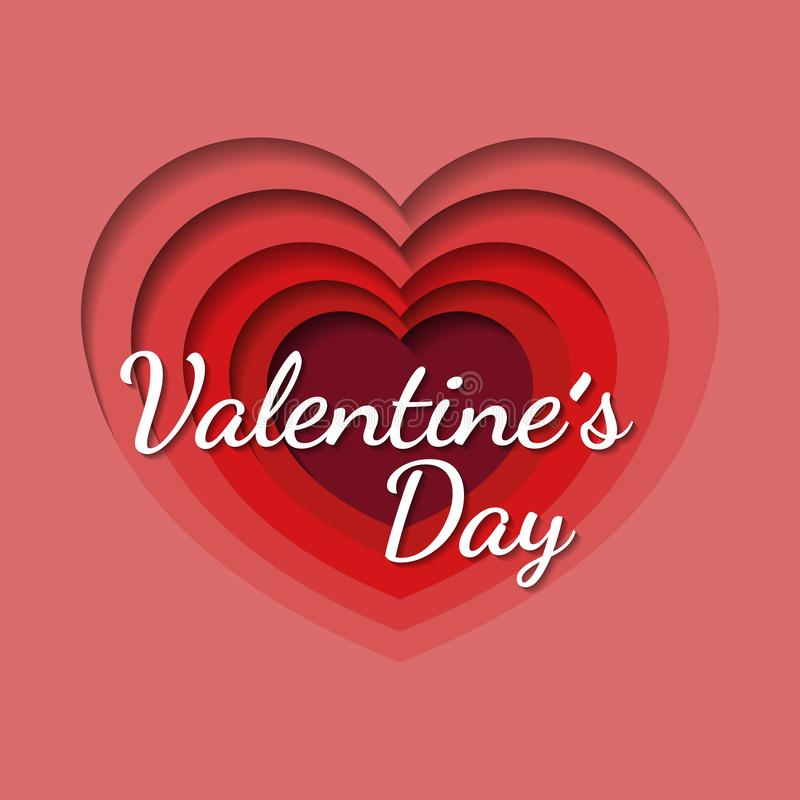 Fondo di San Valentino con cuore a forma di nello stile di carta di arte, invito dell'aletta di filatoio, manifesti, opuscolo, in royalty illustrazione gratis