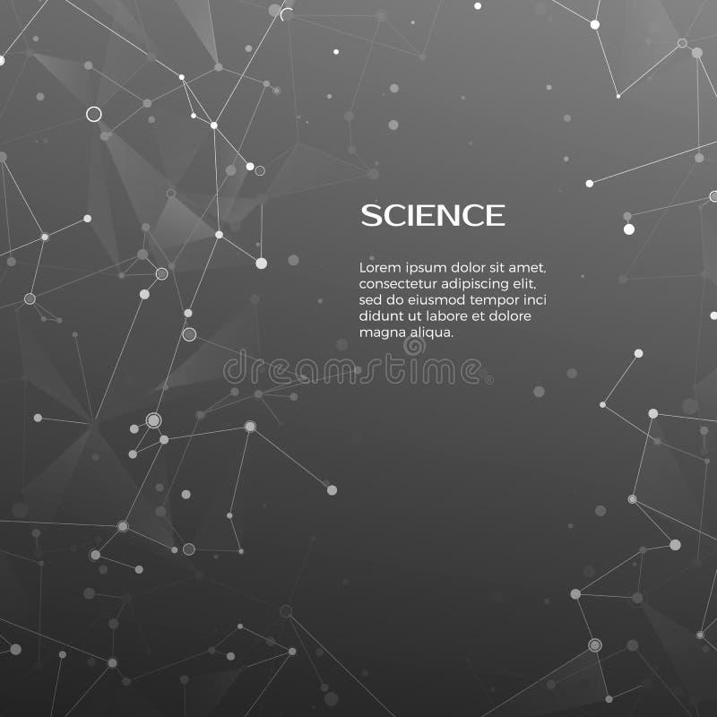 Fondo di scienza e di tecnologia Fondo poligonale Web e nodi astratti Struttura dell'atomo del plesso Vettore royalty illustrazione gratis