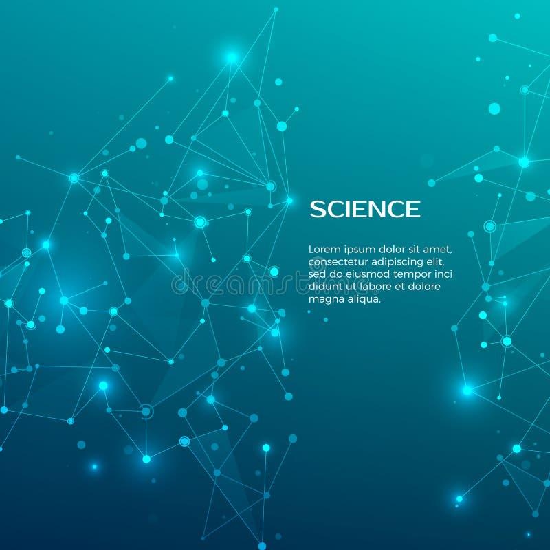Fondo di scienza e di tecnologia Web e nodi astratti Priorità bassa medica Struttura dell'atomo del plesso Vettore illustrazione vettoriale