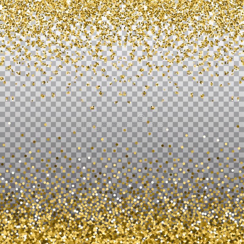 Fondo di scintillio dell'oro Scintille dorate sul confine Il modello per la festa progetta, invito, partito, compleanno, nozze, n royalty illustrazione gratis