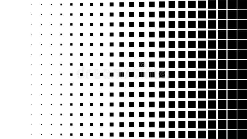 Fondo di semitono del modello, grafico d'annata o retro quadrato di forme del punto, illustrazione vettoriale