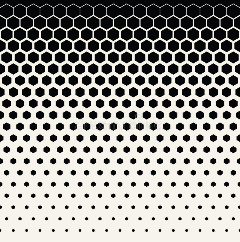 fondo di semitono grafico in bianco e nero geometrico astratto del modello di esagono immagini stock libere da diritti