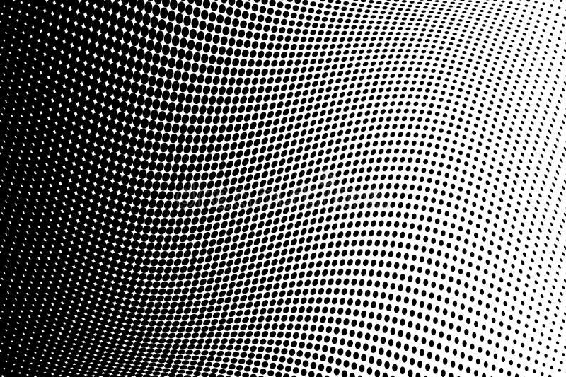 Fondo di semitono ondulato Modello punteggiato comico stile di Pop art Il contesto con i cerchi, punti, giri progetta l'elemento illustrazione di stock