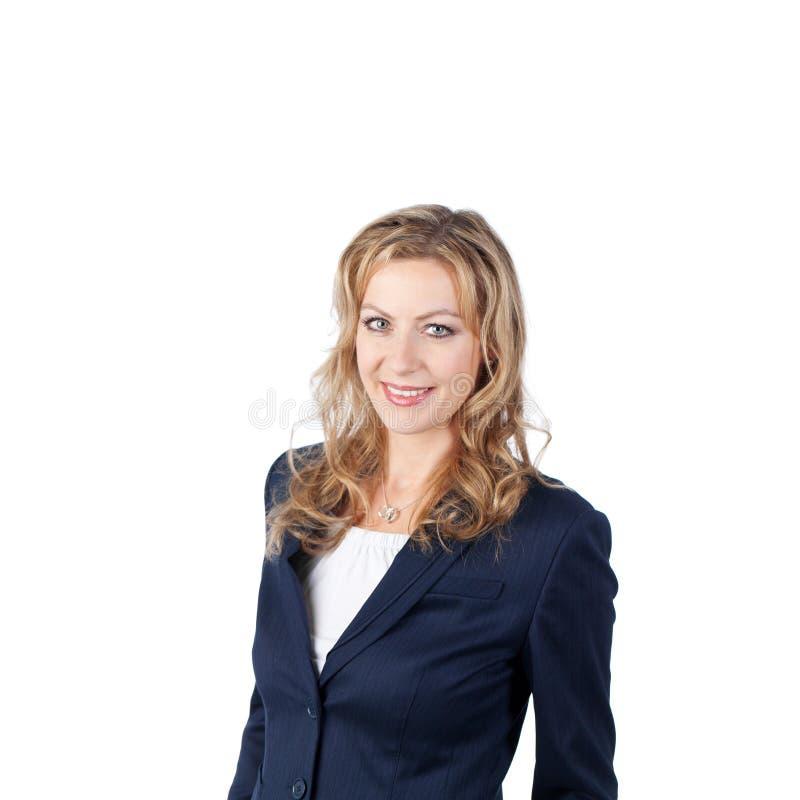 Fondo di Smiling Against White della donna di affari immagini stock