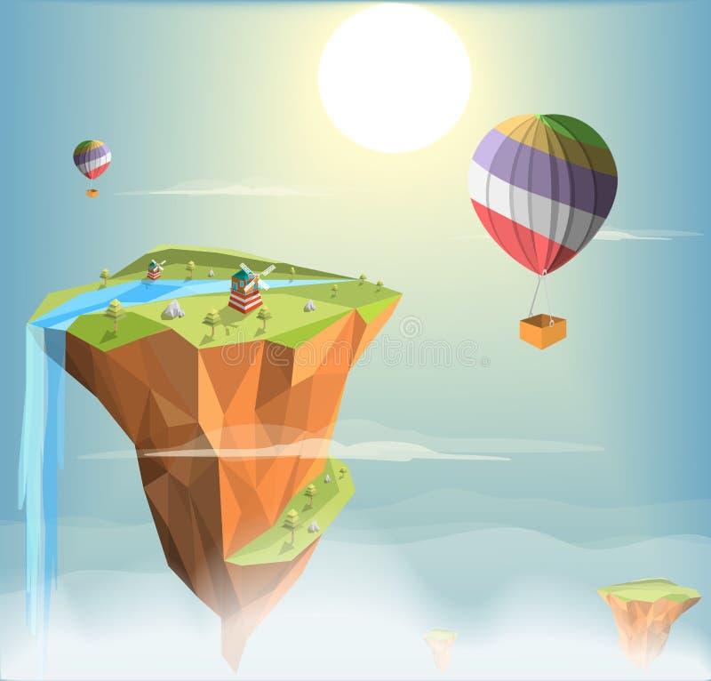 Fondo di sogno del paesaggio di verde di fantasia dell'isola royalty illustrazione gratis
