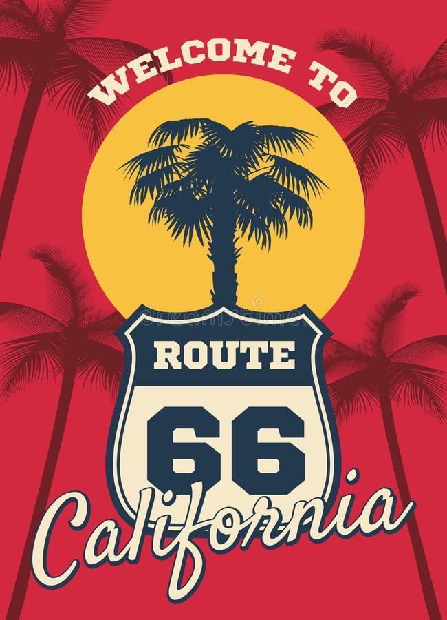 Fondo di sogno di vettore di tema della spiaggia della spiaggia di California, progettazione della cartolina illustrazione vettoriale
