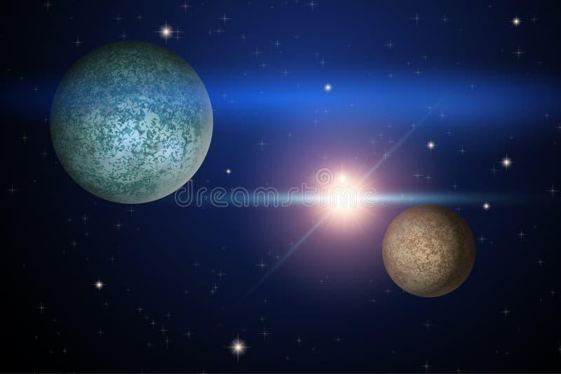 Fondo di spazio con due pianeti sconosciuti illustrazione vettoriale