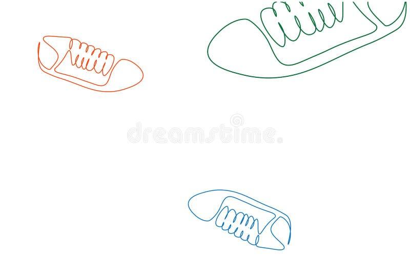 Fondo di sport con l'illustrazione di vettore delle scarpe delle scarpe da tennis illustrazione vettoriale