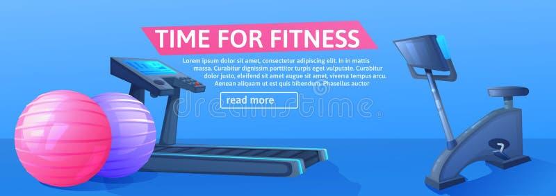 Fondo di sport con la pedana mobile per correre e palle e byke per addestramento della bicicletta Progettazione dell'insegna di f royalty illustrazione gratis