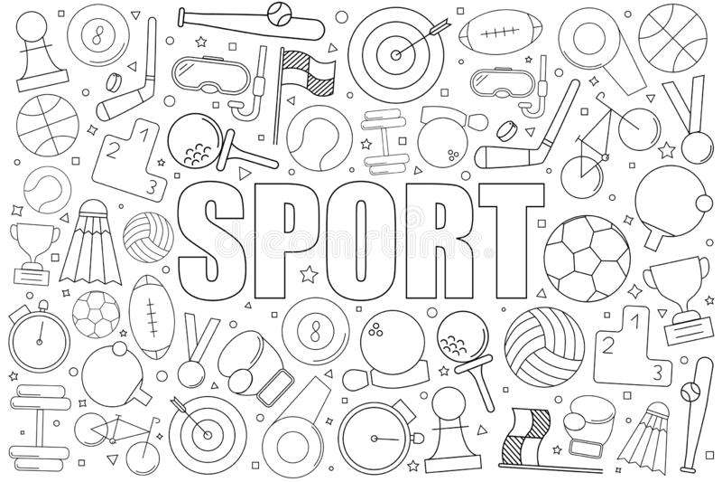 Fondo di sport dalla linea icona modello lineare di vettore royalty illustrazione gratis