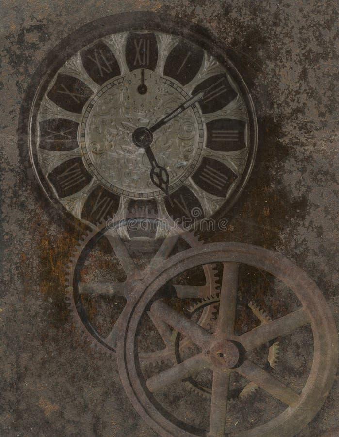 Fondo di Steampunk, orologio, ingranaggi, tecnologia fotografia stock
