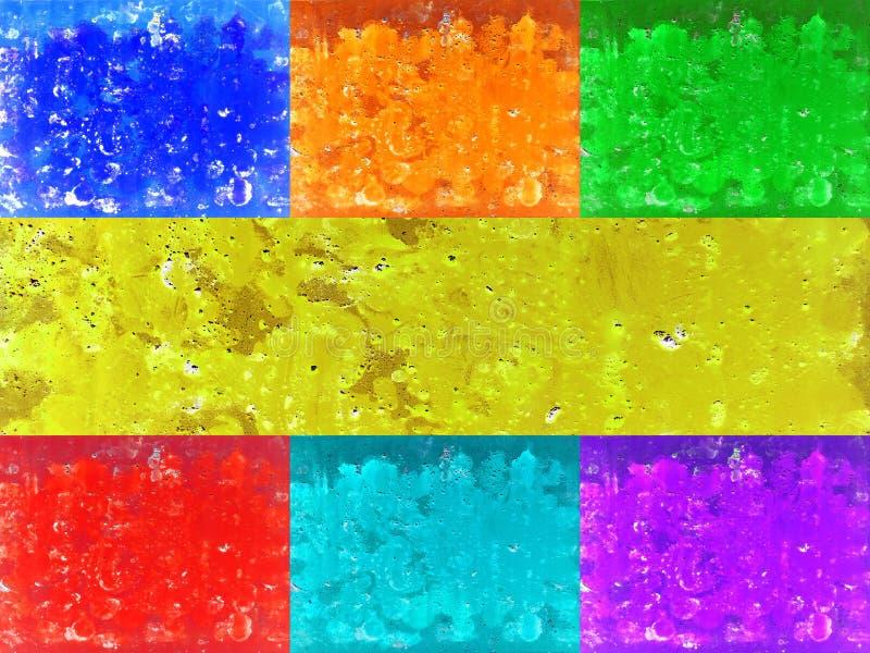 Fondo di struttura che consiste di 7 parti: colori rossi, arancio, gialli, verdi, del turchese, blu e porpora illustrazione vettoriale