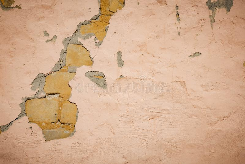 Fondo di struttura del muro di mattoni della crepa immagini stock libere da diritti
