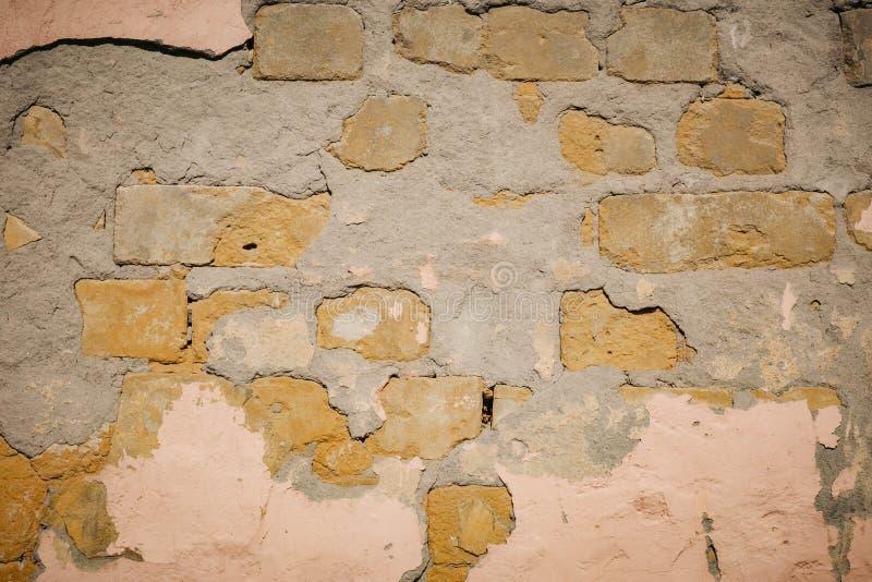Fondo di struttura del muro di mattoni della crepa fotografia stock libera da diritti