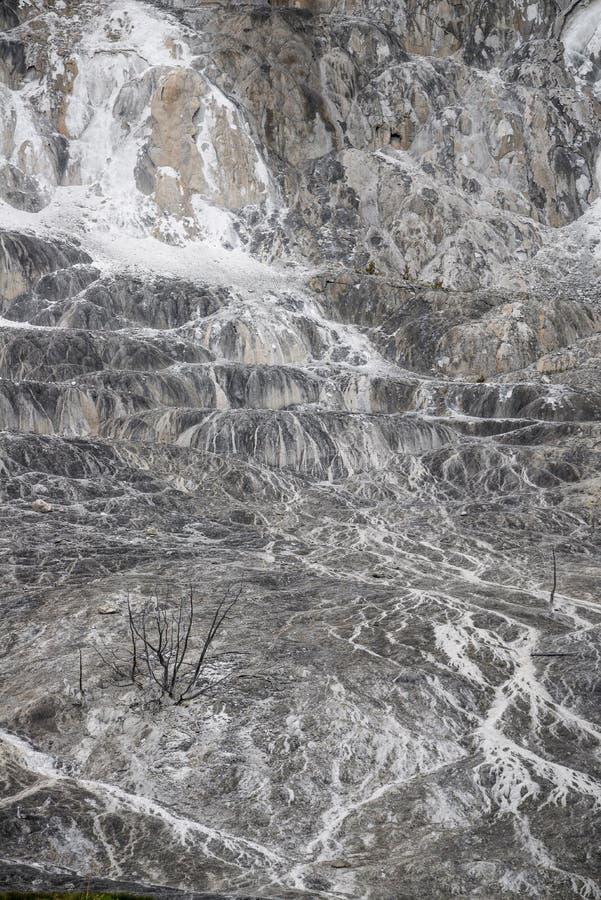 Fondo di struttura della roccia del vulcano - yellowston di Mammoth Hot Springs immagini stock