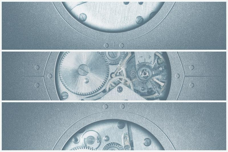 fondo di tecnologia con gli ingranaggi e le ruote dentate del metallo fotografia stock libera da diritti