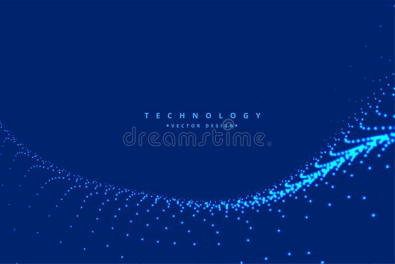 Fondo di tecnologia dell'onda della particella di Digital illustrazione vettoriale