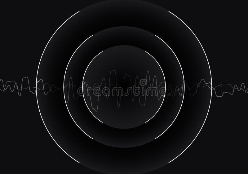 Fondo di tecnologia delle onde sonore monocromatico in bianco e nero d'oscillazione, astratto Illustrazione di vettore fotografia stock