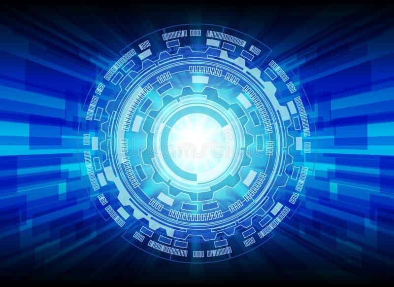 Fondo di tecnologia digitale e del cerchio, tecnologia astratta illustrazione di stock