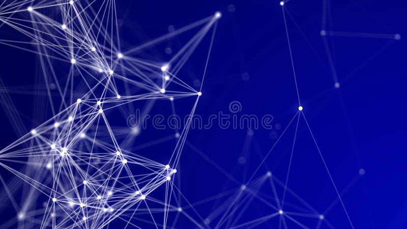 Fondo di tecnologia e della rete - pendenza blu profonda con i nodi e le linee bianchi illustrazione di stock