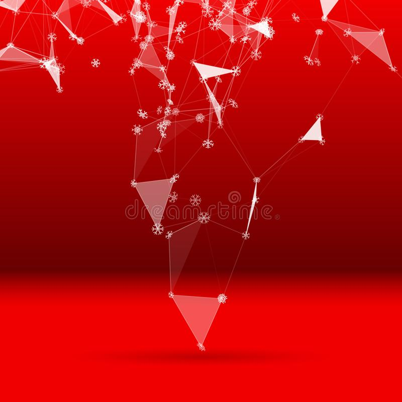 Fondo di tecnologia di Natale con i fiocchi di neve sopra la griglia triangolare del ghiaccio illustrazione di stock