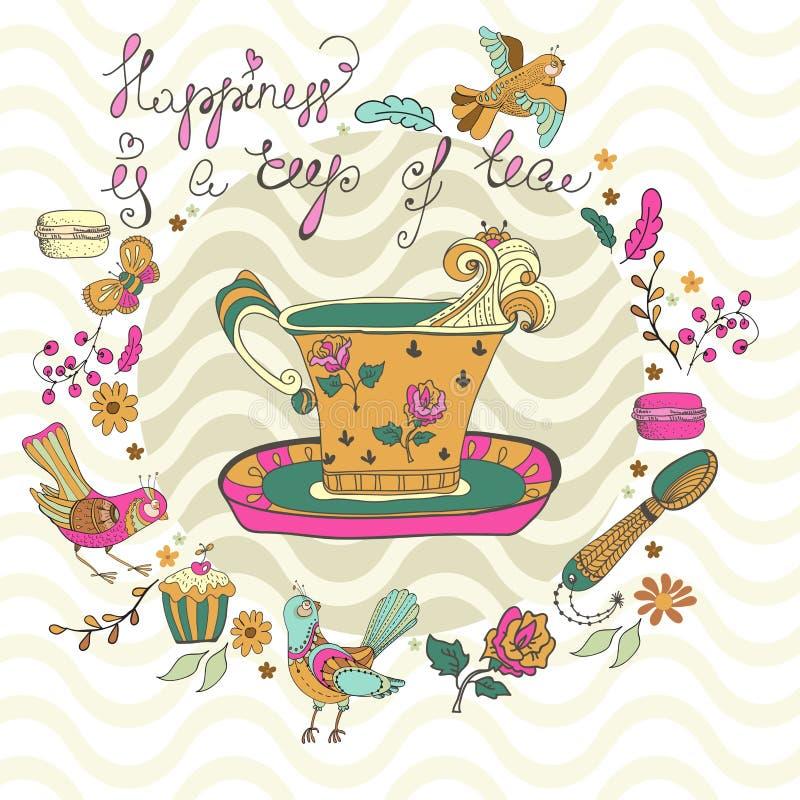 Fondo di tempo del tè di colore illustrazione di stock
