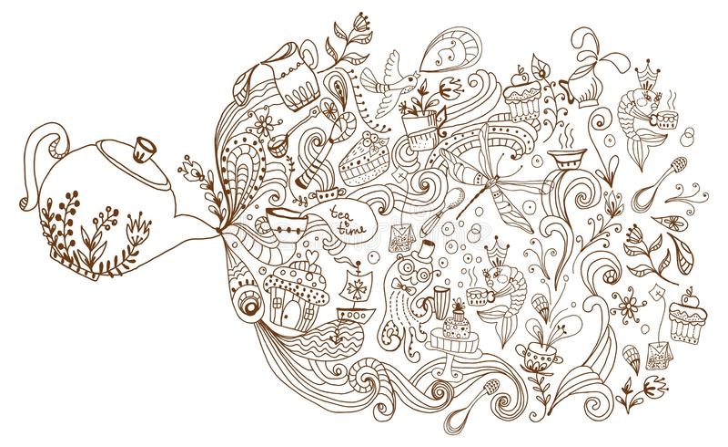 Fondo di tempo del tè, illustrazione di scarabocchio royalty illustrazione gratis