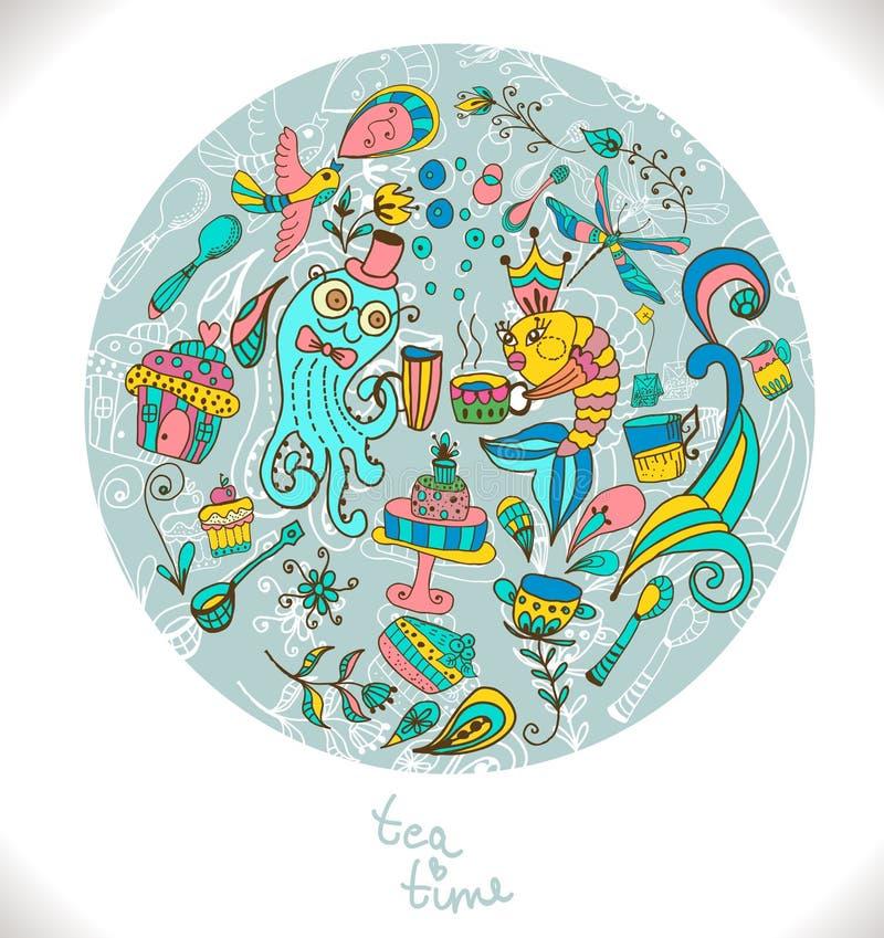 Fondo di tempo del tè, illustrazione di scarabocchio illustrazione di stock